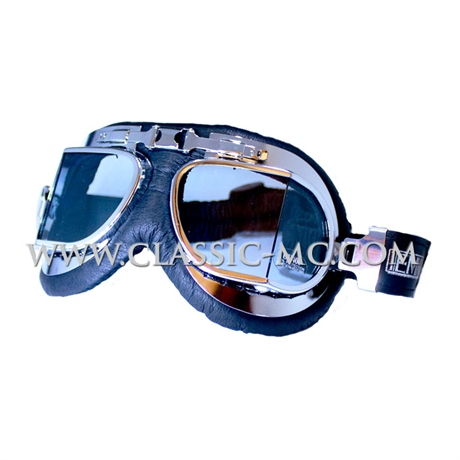 GOGGLES, STADIUM TYPE LEATHER/CHROME